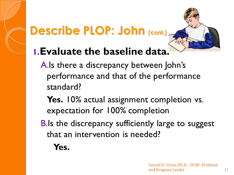 1. Evaluate the baseline data.