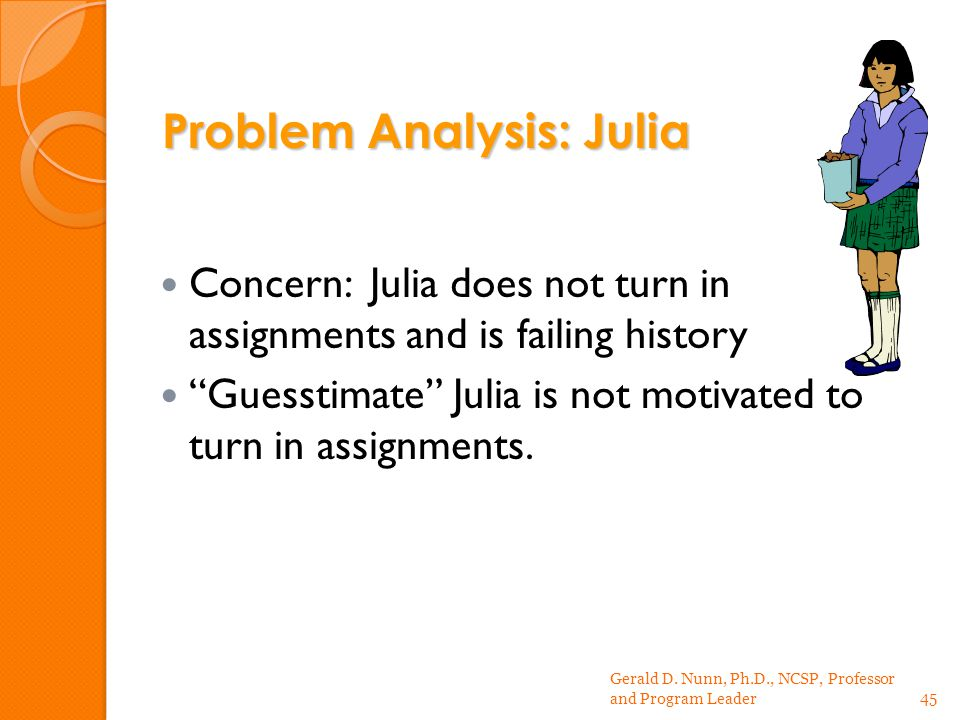 Concern: Julia does not turn in assignments and is failing history Guesstimate Julia is not motivated to turn in assignments.