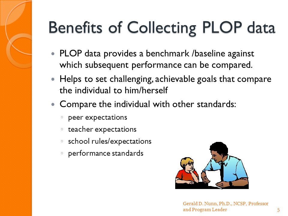 Benefits of Collecting PLOP data PLOP data provides a benchmark /baseline against which subsequent performance can be compared.