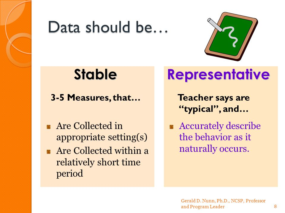 Data should be… 3-5 Measures, that…Teacher says are typical , and… Gerald D.
