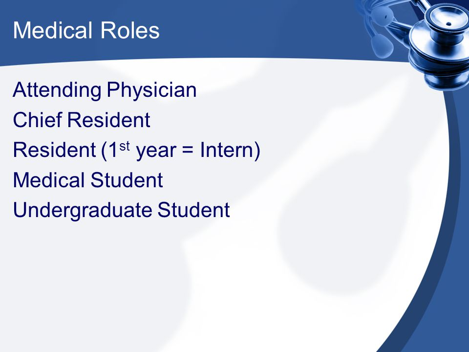 Medical Roles Attending Physician Chief Resident Resident (1 st year = Intern) Medical Student Undergraduate Student