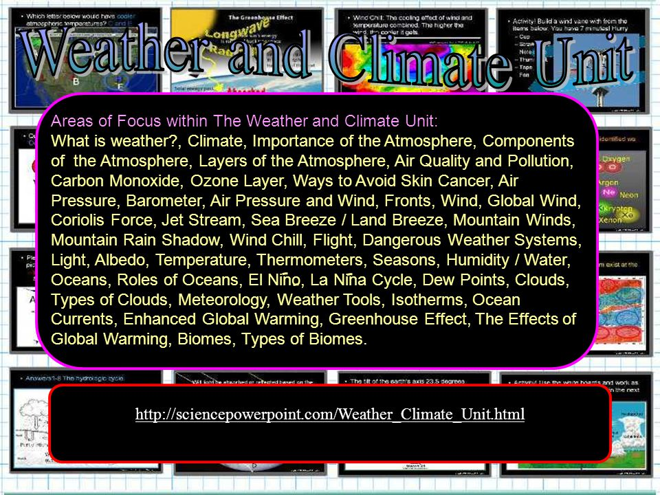 http://sciencepowerpoint.com/Weather_Climate_Unit.html Areas of Focus within The Weather and Climate Unit: What is weather , Climate, Importance of the Atmosphere, Components of the Atmosphere, Layers of the Atmosphere, Air Quality and Pollution, Carbon Monoxide, Ozone Layer, Ways to Avoid Skin Cancer, Air Pressure, Barometer, Air Pressure and Wind, Fronts, Wind, Global Wind, Coriolis Force, Jet Stream, Sea Breeze / Land Breeze, Mountain Winds, Mountain Rain Shadow, Wind Chill, Flight, Dangerous Weather Systems, Light, Albedo, Temperature, Thermometers, Seasons, Humidity / Water, Oceans, Roles of Oceans, El Nino, La Nina Cycle, Dew Points, Clouds, Types of Clouds, Meteorology, Weather Tools, Isotherms, Ocean Currents, Enhanced Global Warming, Greenhouse Effect, The Effects of Global Warming, Biomes, Types of Biomes.