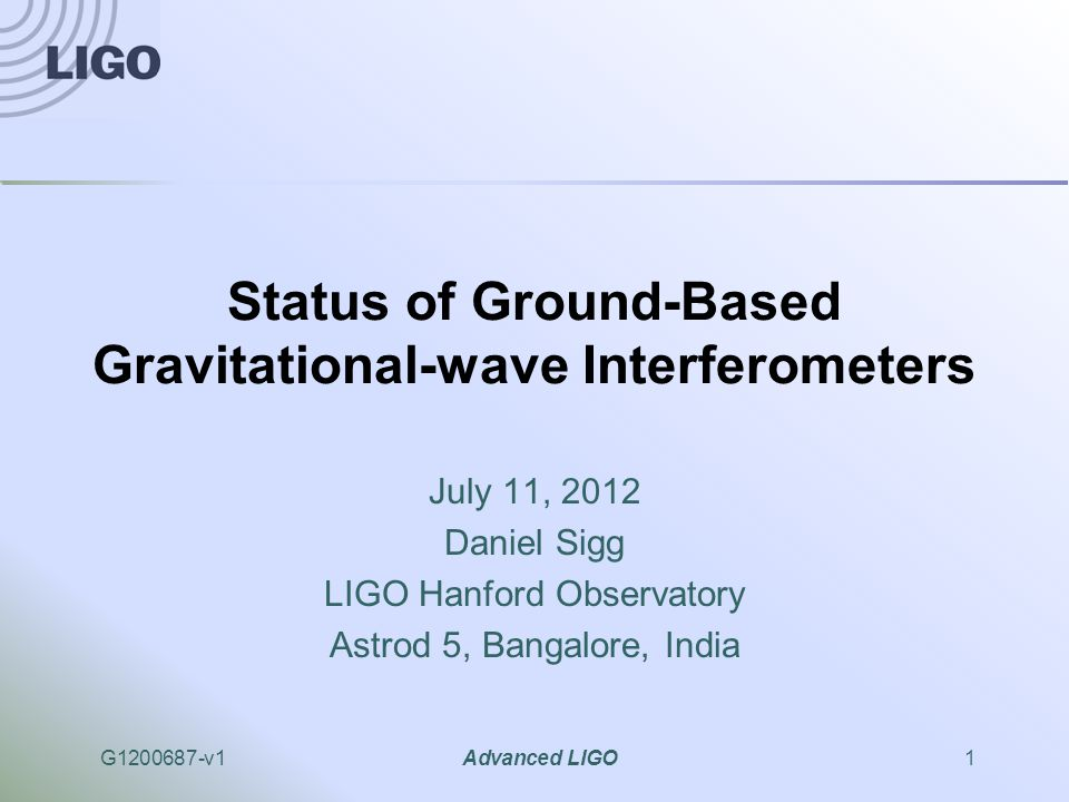 G1200687-v1Advanced LIGO2 Abstract We present the status of ground based gravitational wave detectors.