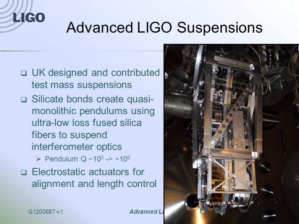 G1200687-v1Advanced LIGO11 Advanced LIGO Suspensions  UK designed and contributed test mass suspensions  Silicate bonds create quasi- monolithic pendulums using ultra-low loss fused silica fibers to suspend interferometer optics  Pendulum Q ~10 5 -> ~10 8  Electrostatic actuators for alignment and length control