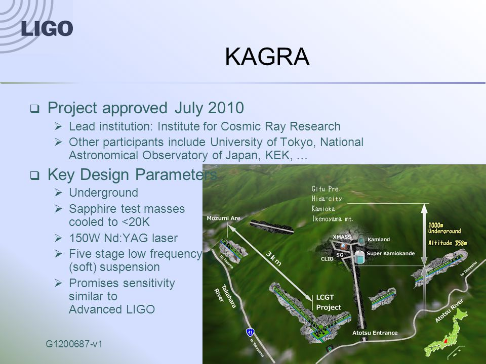 G1200687-v1Advanced LIGO17 KAGRA  Project approved July 2010  Lead institution: Institute for Cosmic Ray Research  Other participants include University of Tokyo, National Astronomical Observatory of Japan, KEK, …  Key Design Parameters  Underground  Sapphire test masses cooled to <20K  150W Nd:YAG laser  Five stage low frequency (soft) suspension  Promises sensitivity similar to Advanced LIGO
