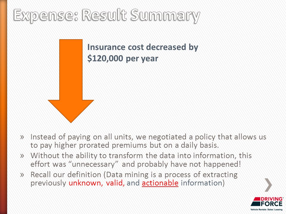 Insurance cost decreased by $120,000 per year » Instead of paying on all units, we negotiated a policy that allows us to pay higher prorated premiums but on a daily basis.