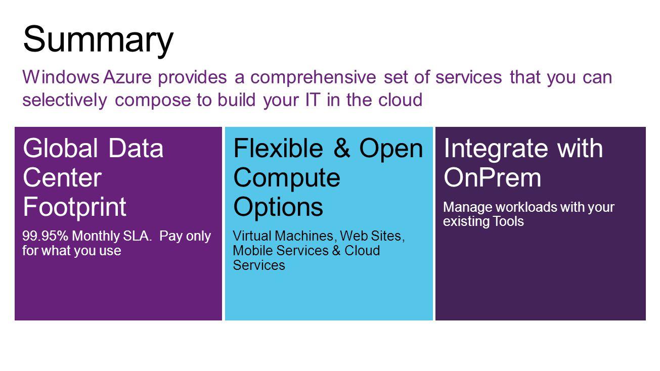 Global Data Center Footprint 99.95% Monthly SLA.