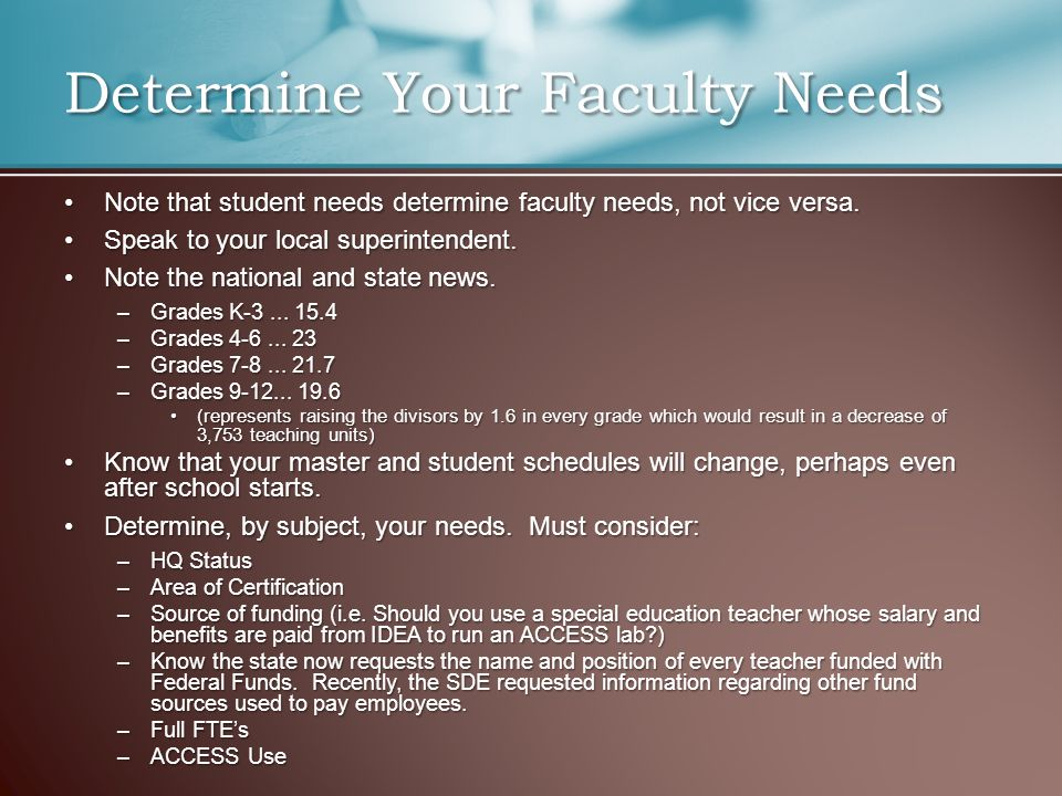 Note that student needs determine faculty needs, not vice versa.Note that student needs determine faculty needs, not vice versa. Speak to your local s