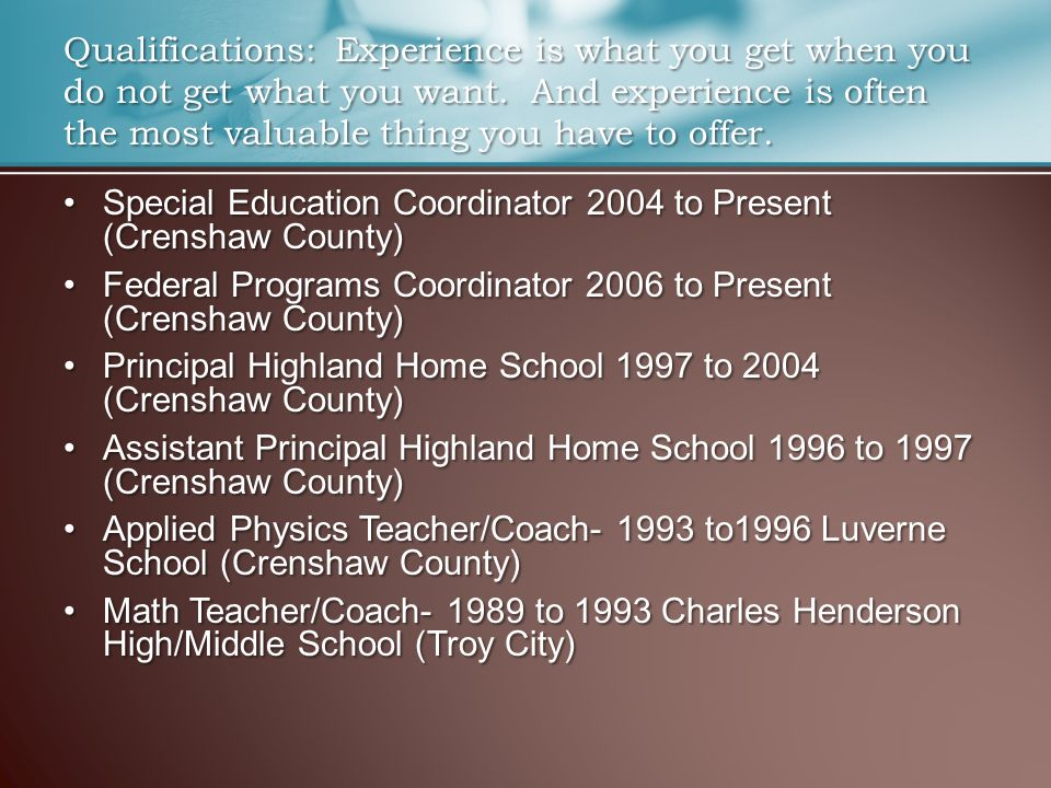 Special Education Coordinator 2004 to Present (Crenshaw County)Special Education Coordinator 2004 to Present (Crenshaw County) Federal Programs Coordi