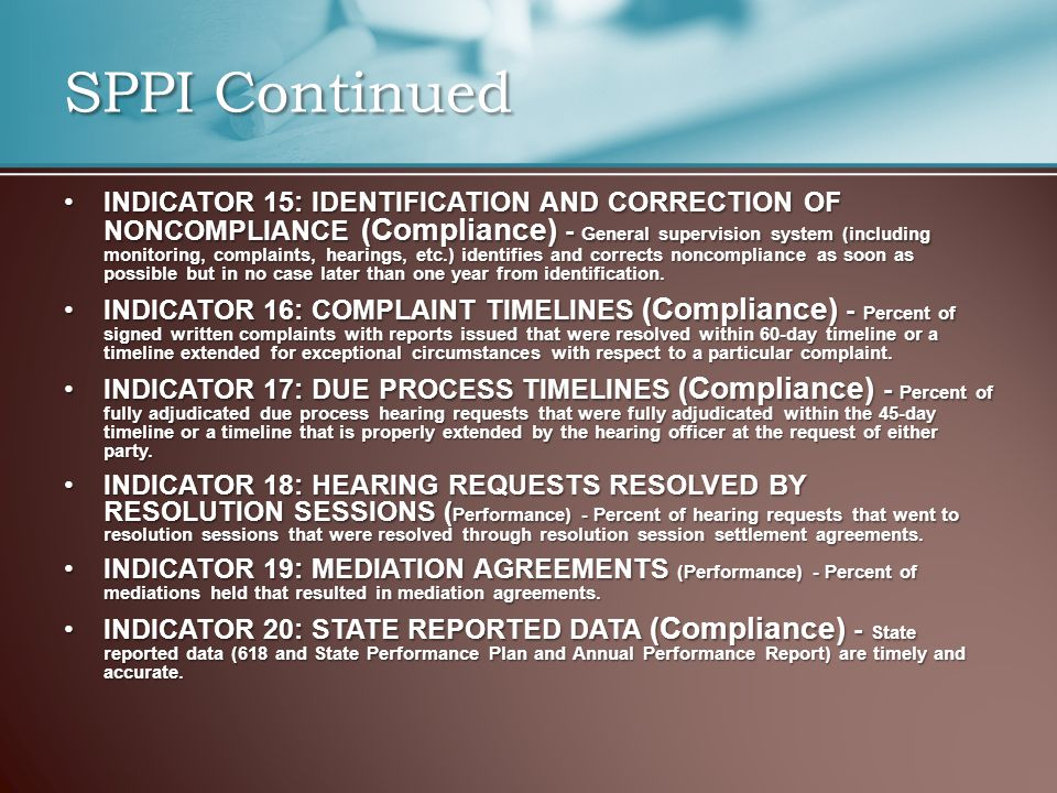 INDICATOR 15: IDENTIFICATION AND CORRECTION OF NONCOMPLIANCE (Compliance) - General supervision system (including monitoring, complaints, hearings, etc.) identifies and corrects noncompliance as soon as possible but in no case later than one year from identification.INDICATOR 15: IDENTIFICATION AND CORRECTION OF NONCOMPLIANCE (Compliance) - General supervision system (including monitoring, complaints, hearings, etc.) identifies and corrects noncompliance as soon as possible but in no case later than one year from identification.