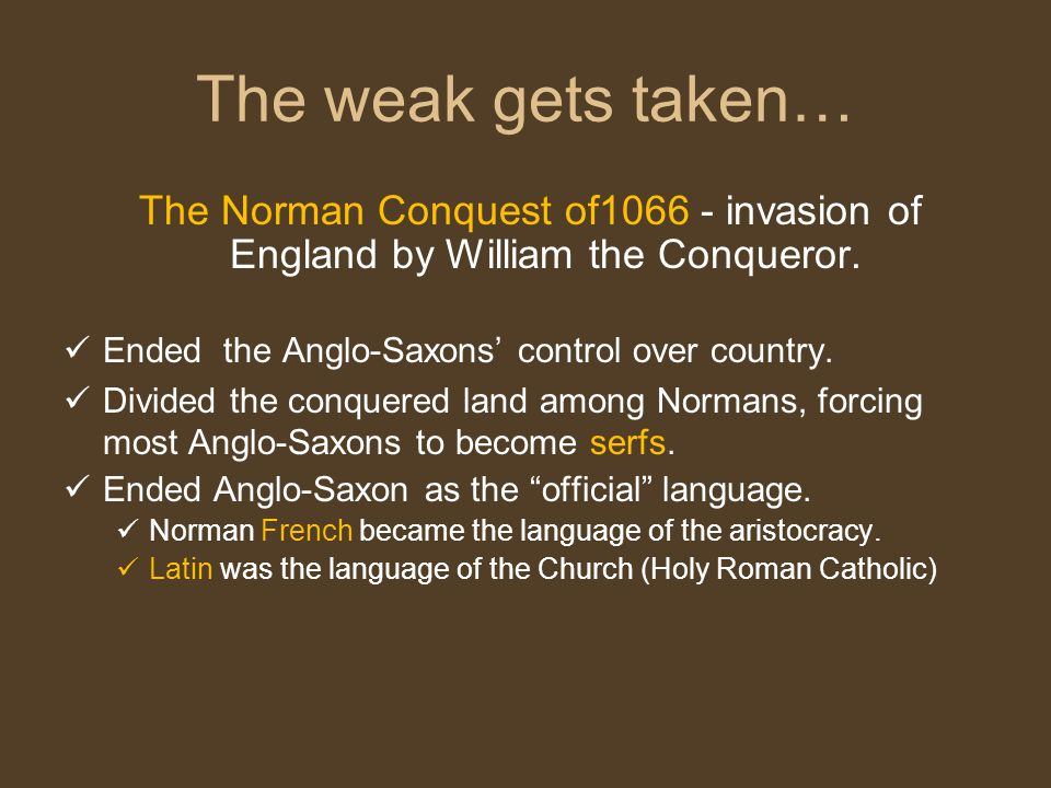 The Norman Conquest of1066 - invasion of England by William the Conqueror.