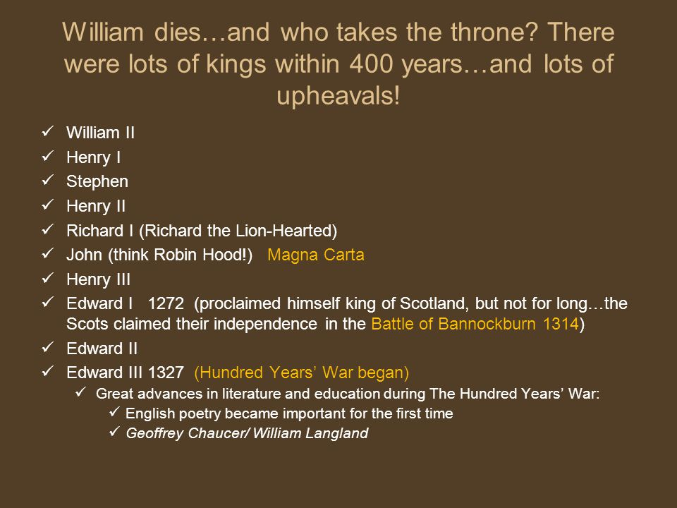 William dies…and who takes the throne.