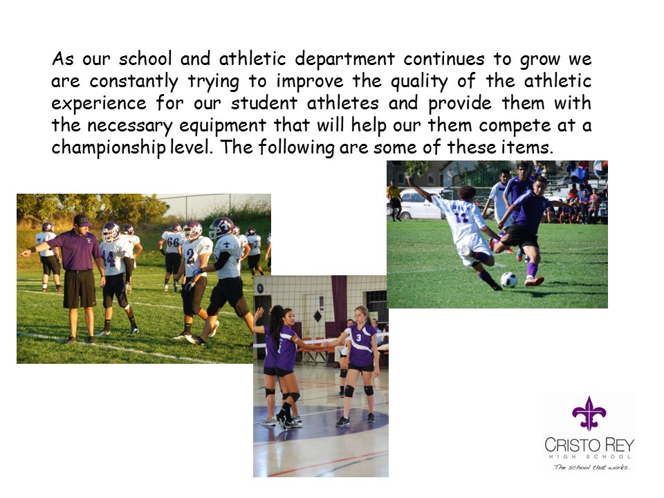 As our school and athletic department continues to grow we are constantly trying to improve the quality of the athletic experience for our student athletes and provide them with the necessary equipment that will help our them compete at a championship level.