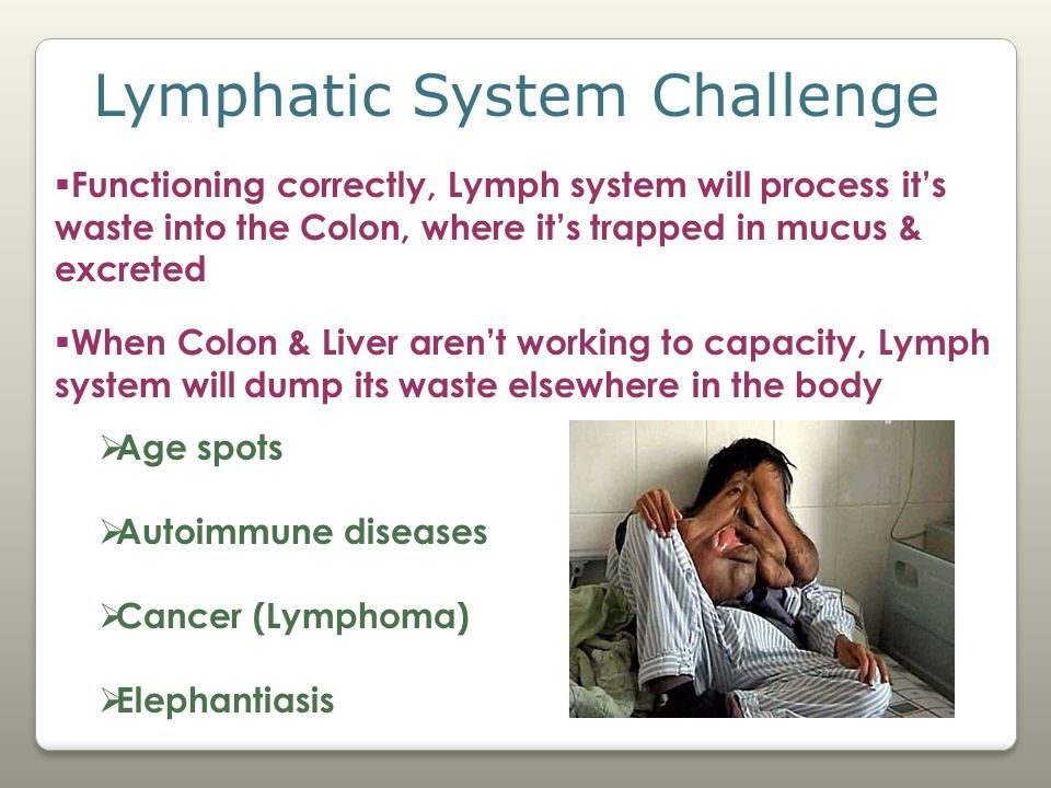 Lymphatic System Challenge  Functioning correctly, Lymph system will process it's waste into the Colon, where it's trapped in mucus & excreted  When Colon & Liver aren't working to capacity, Lymph system will dump its waste elsewhere in the body  Age spots  Autoimmune diseases  Cancer (Lymphoma)  Elephantiasis