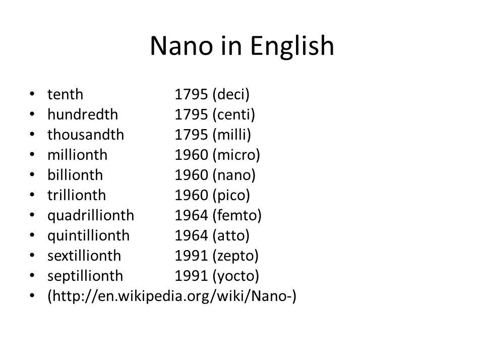 Nano in English tenth 1795 (deci) hundredth 1795 (centi) thousandth 1795 (milli) millionth 1960 (micro) billionth 1960 (nano) trillionth 1960 (pico) quadrillionth 1964 (femto) quintillionth 1964 (atto) sextillionth 1991 (zepto) septillionth 1991 (yocto) (http://en.wikipedia.org/wiki/Nano-)