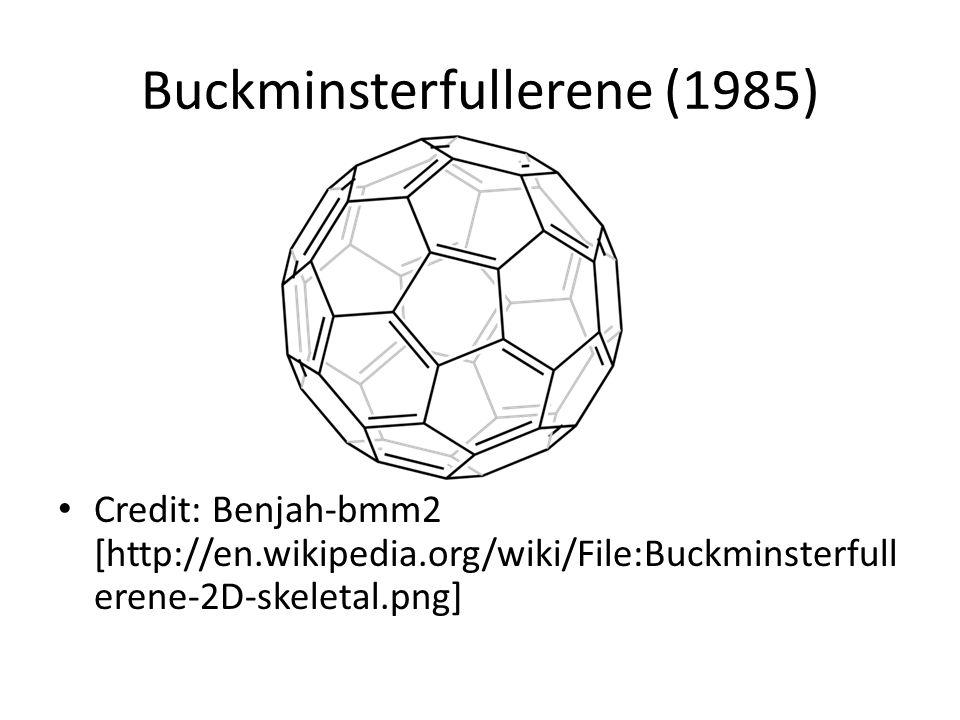 Buckminsterfullerene (1985) Credit: Benjah-bmm2 [http://en.wikipedia.org/wiki/File:Buckminsterfull erene-2D-skeletal.png]