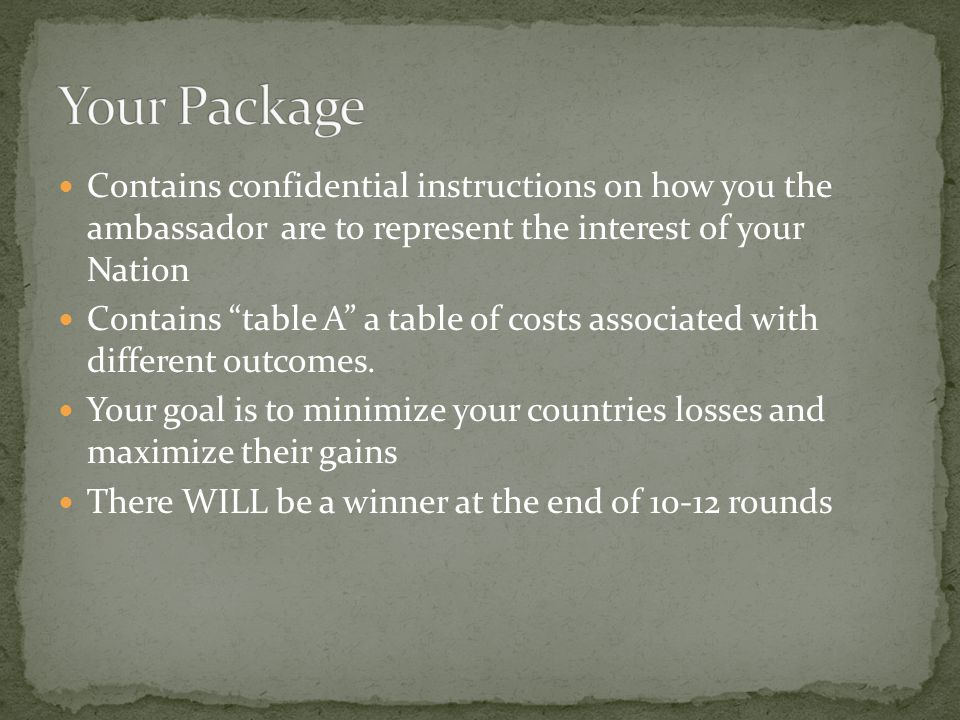 Contains confidential instructions on how you the ambassador are to represent the interest of your Nation Contains table A a table of costs associated with different outcomes.