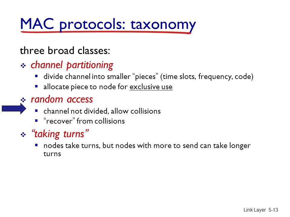 """Link Layer5-13 MAC protocols: taxonomy three broad classes:  channel partitioning  divide channel into smaller """"pieces"""" (time slots, frequency, code"""