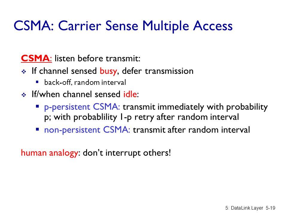 CSMA: Carrier Sense Multiple Access CSMA: listen before transmit:  If channel sensed busy, defer transmission  back-off, random interval  If/when c