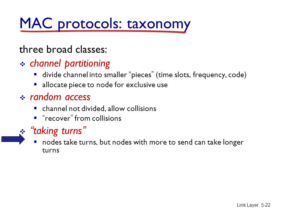 """Link Layer5-22 MAC protocols: taxonomy three broad classes:  channel partitioning  divide channel into smaller """"pieces"""" (time slots, frequency, code"""