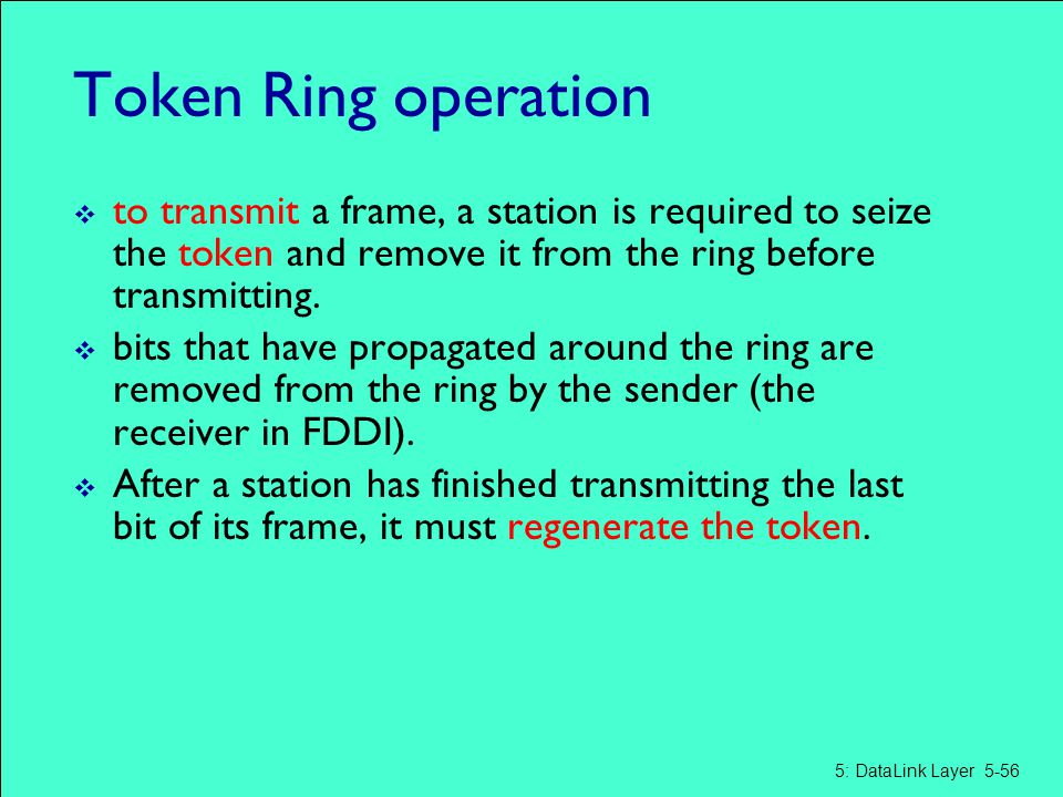 Token Ring operation  to transmit a frame, a station is required to seize the token and remove it from the ring before transmitting.  bits that have