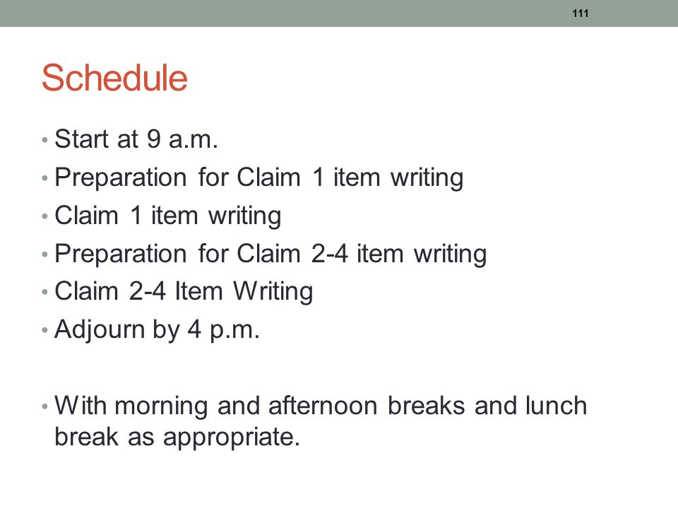 Schedule Start at 9 a.m. Preparation for Claim 1 item writing Claim 1 item writing Preparation for Claim 2-4 item writing Claim 2-4 Item Writing Adjou