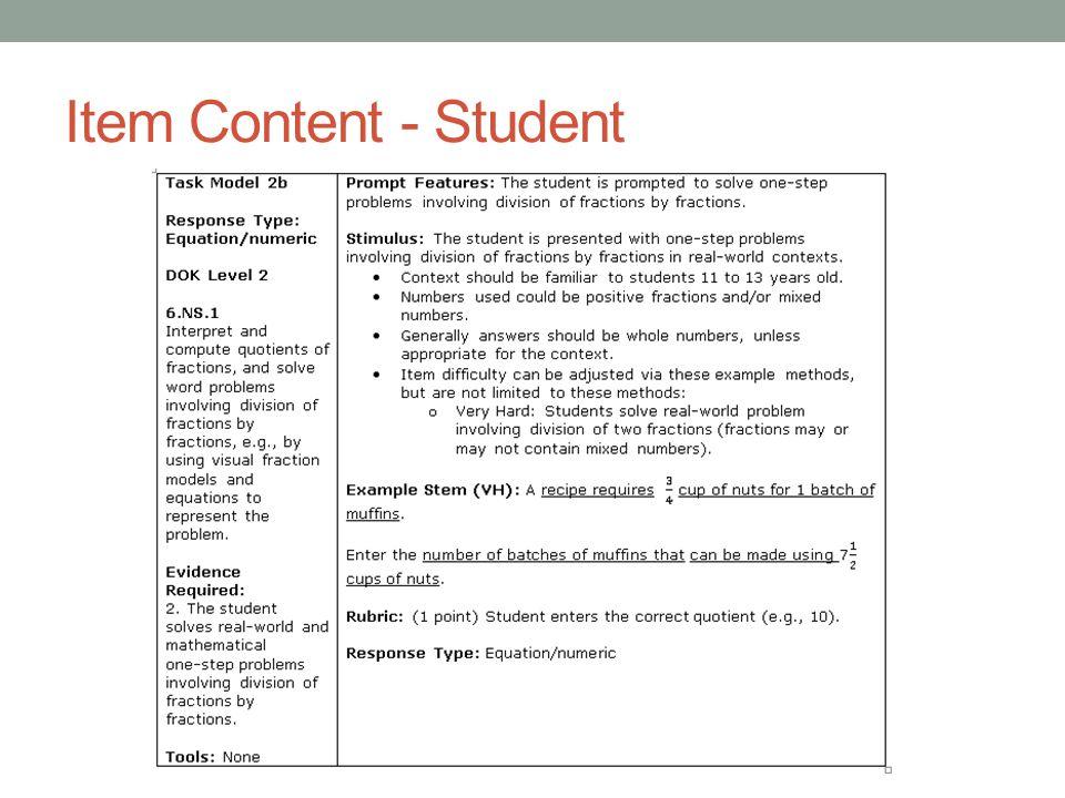 Item Content - Student