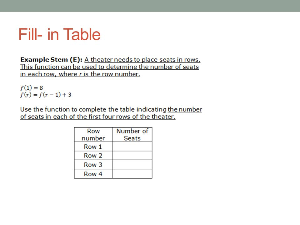 Fill- in Table