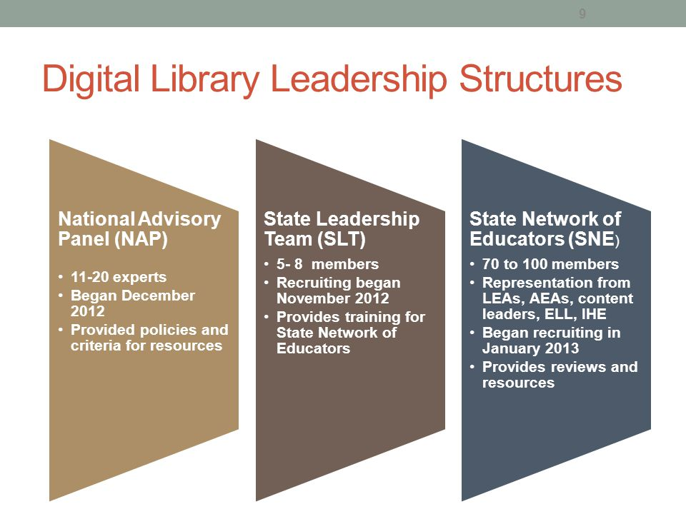 Digital Library Leadership Structures National Advisory Panel (NAP) 11-20 experts Began December 2012 Provided policies and criteria for resources Sta