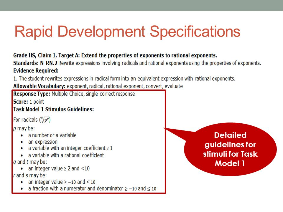 Rapid Development Specifications Detailed guidelines for stimuli for Task Model 1