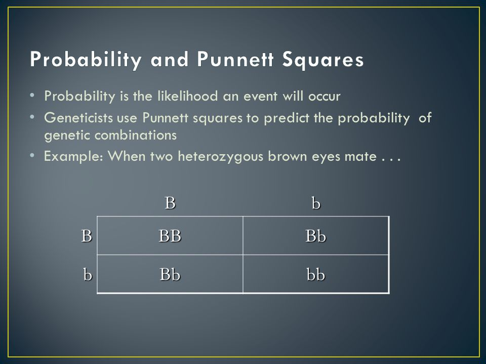 Probability is the likelihood an event will occur Geneticists use Punnett squares to predict the probability of genetic combinations Example: When two