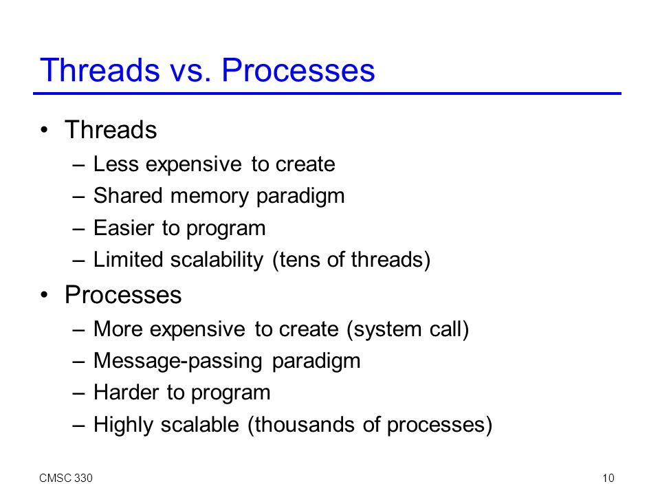 CMSC 33010 Threads vs.