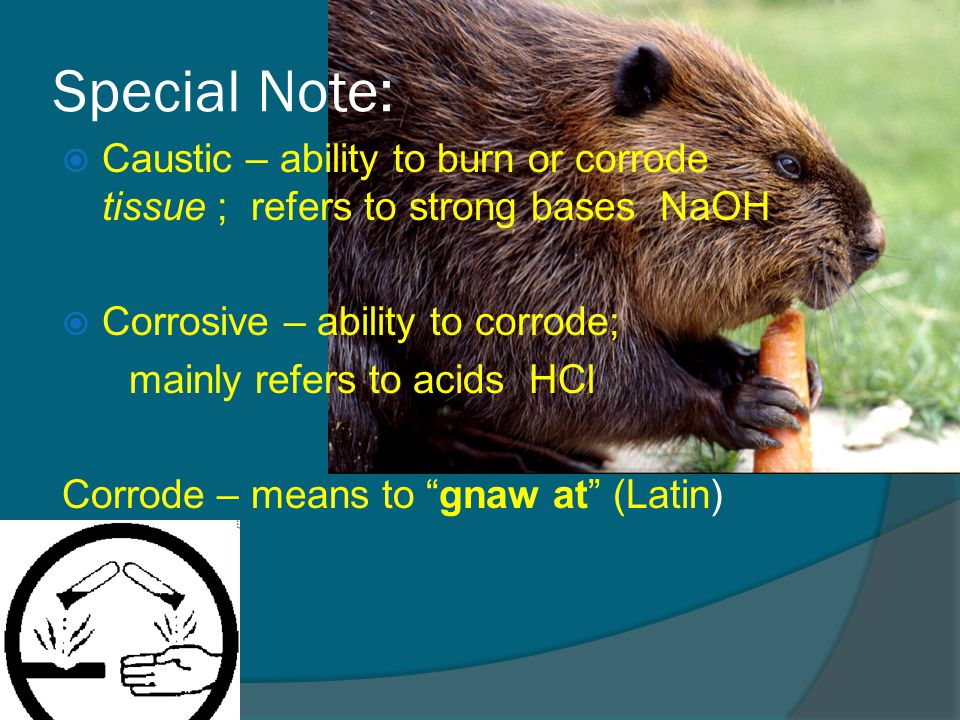 Special Note:  Caustic – ability to burn or corrode tissue ; refers to strong bases NaOH  Corrosive – ability to corrode; mainly refers to acids HCl Corrode – means to gnaw at (Latin)