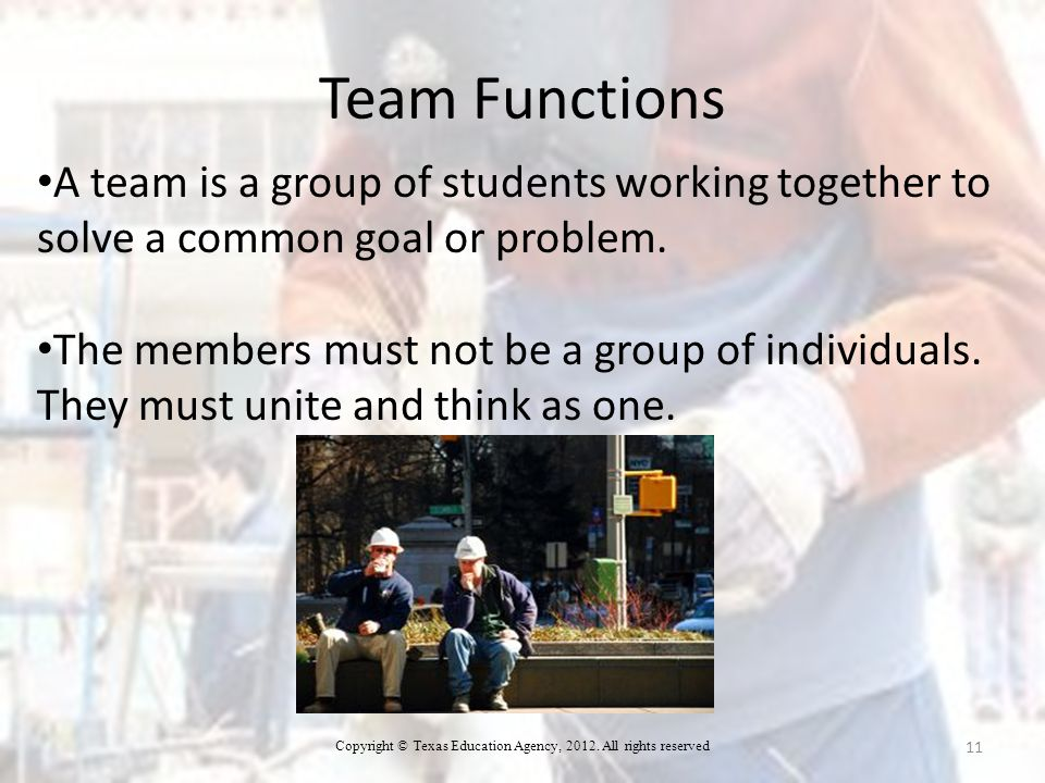 A team is a group of students working together to solve a common goal or problem.