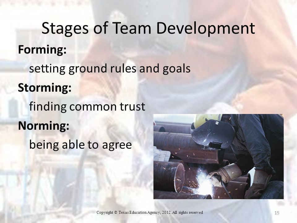 Stages of Team Development Forming: setting ground rules and goals Storming: finding common trust Norming: being able to agree 15 Copyright © Texas Education Agency, 2012.