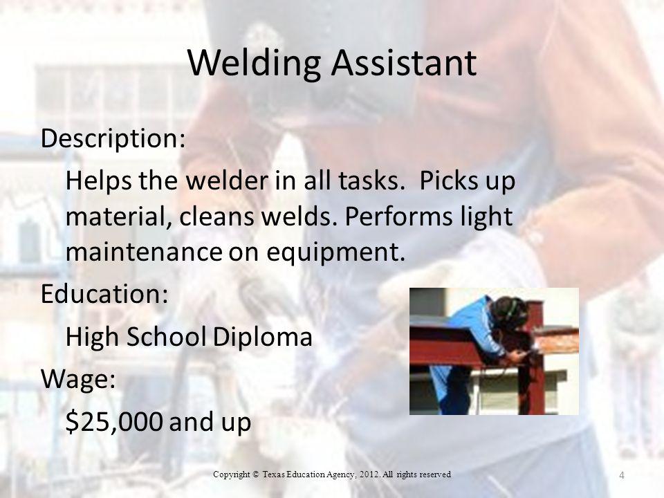 Welding Assistant Description: Helps the welder in all tasks.