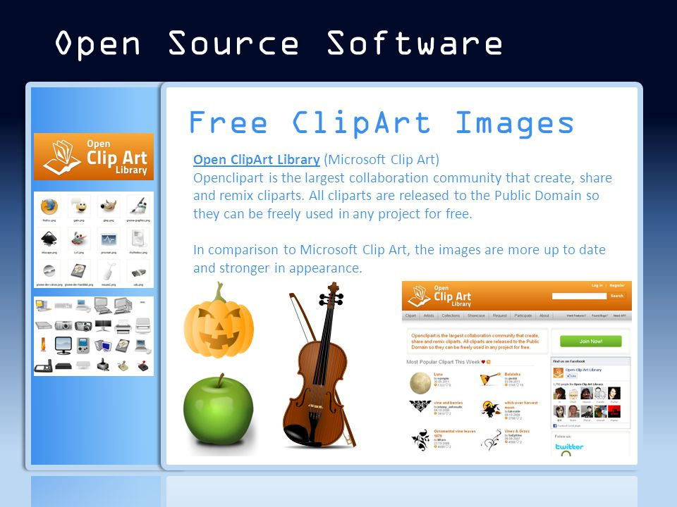 Free ClipArt Images Open ClipArt Library (​Microsoft Clip Art) Openclipart is the largest collaboration community that create, share and remix cliparts.