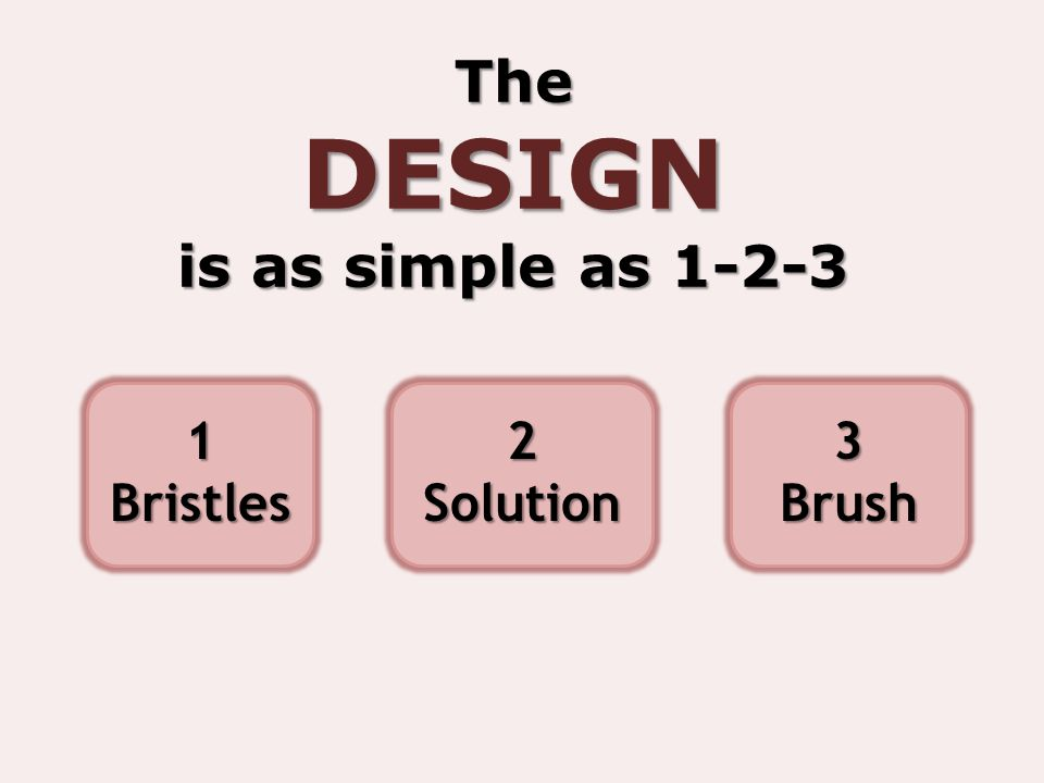 TheDESIGN is as simple as 1-2-3 1Bristles2Solution3Brush