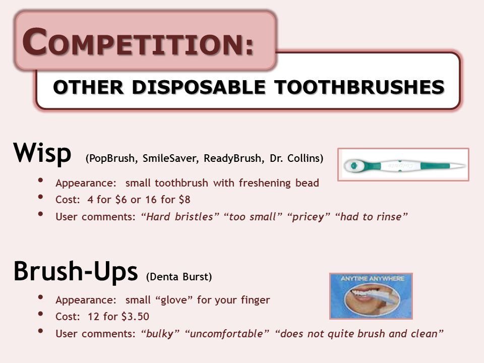 C OMPETITION: OTHER DISPOSABLE TOOTHBRUSHES Wisp (PopBrush, SmileSaver, ReadyBrush, Dr.