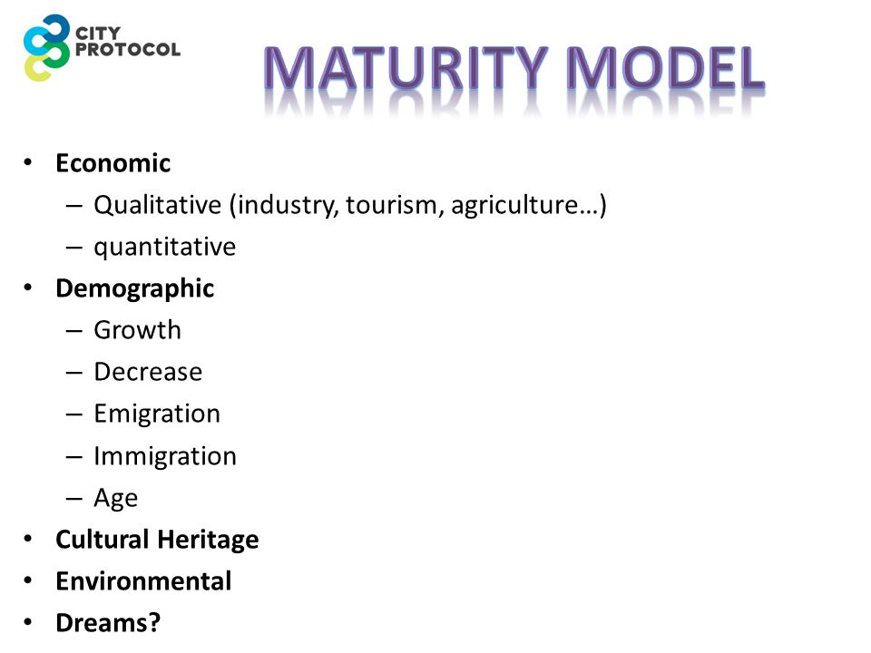 Economic – Qualitative (industry, tourism, agriculture…) – quantitative Demographic – Growth – Decrease – Emigration – Immigration – Age Cultural Heritage Environmental Dreams