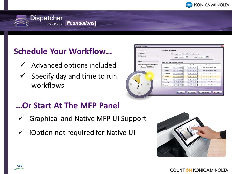 Foundations Advanced options included Specify day and time to run workflows Schedule Your Workflow… …Or Start At The MFP Panel Graphical and Native MF