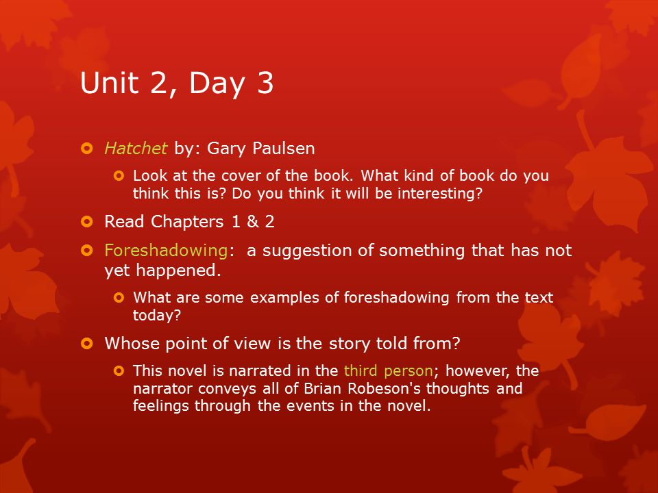 Unit 2, Day 3  Hatchet by: Gary Paulsen  Look at the cover of the book. What kind of book do you think this is? Do you think it will be interesting?