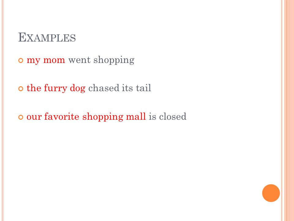 E XAMPLES my mom went shopping the furry dog chased its tail our favorite shopping mall is closed