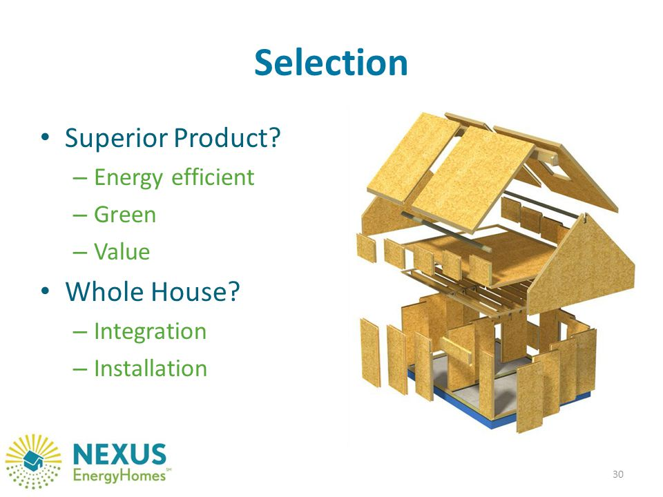 Selection Superior Product. – Energy efficient – Green – Value Whole House.