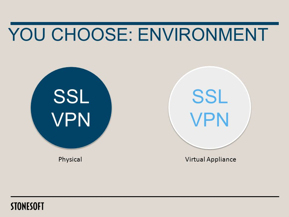 YOU CHOOSE: ENVIRONMENT SSL VPN Physical SSL VPN Virtual Appliance