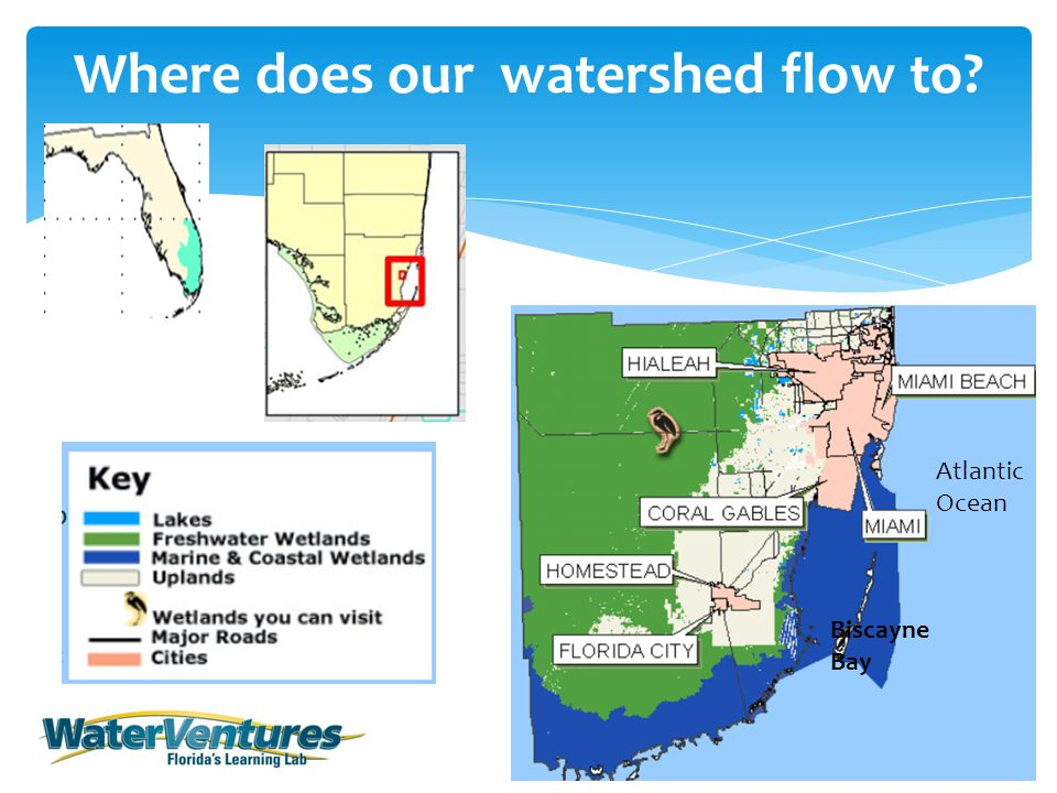 Where does our watershed flow to Atlantic Ocean Biscayne Bay