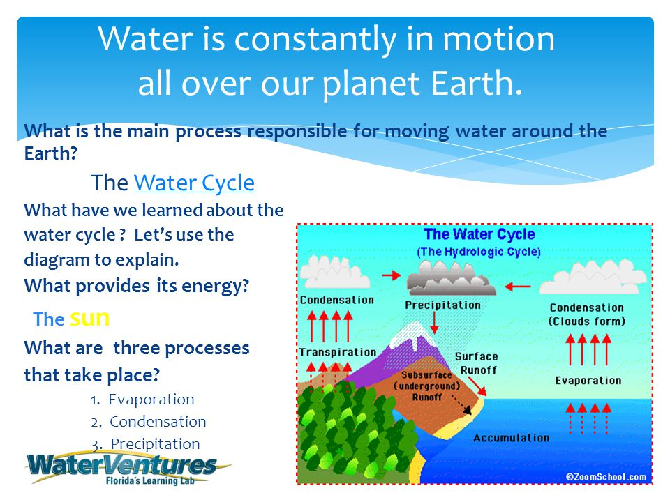 What is the main process responsible for moving water around the Earth.