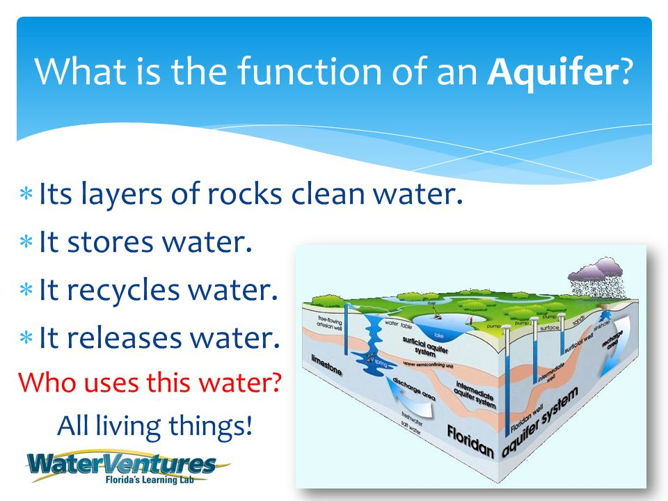  Its layers of rocks clean water.  It stores water.