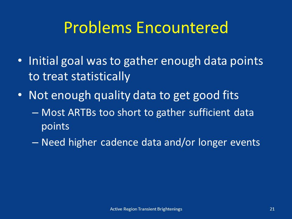 Problems Encountered Initial goal was to gather enough data points to treat statistically Not enough quality data to get good fits – Most ARTBs too short to gather sufficient data points – Need higher cadence data and/or longer events Active Region Transient Brightenings21