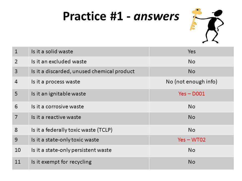 Practice #1 - answers 1Is it a solid wasteYes 2Is it an excluded wasteNo 3Is it a discarded, unused chemical productNo 4Is it a process wasteNo (not enough info) 5Is it an ignitable wasteYes – D001 6Is it a corrosive wasteNo 7Is it a reactive wasteNo 8Is it a federally toxic waste (TCLP)No 9Is it a state-only toxic wasteYes – WT02 10Is it a state-only persistent wasteNo 11Is it exempt for recyclingNo